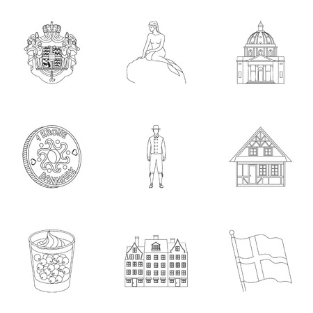 Building, national, style and other web icon in outline style.Denmark, sea, history, attributes icons in set collection.