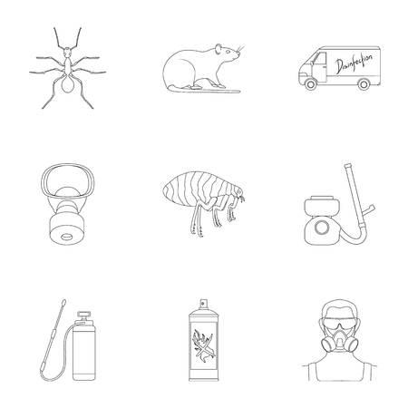 Plagas, veneno, personal y diversos equipos delinear los iconos en conjunto colección para el diseño. Ejemplo del web de la acción del símbolo del vector del servicio del control de plagas. Ilustración de vector