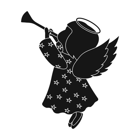 Angel with a pipe single icon in black style for design.Christmas vector symbol stock illustration web.