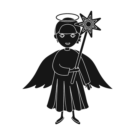 Angel with a star single icon in black style for design.Christmas vector symbol stock illustration web. Illustration