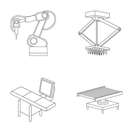 Automotive industry and other web icon in outline style.New technologies icons in set collection.