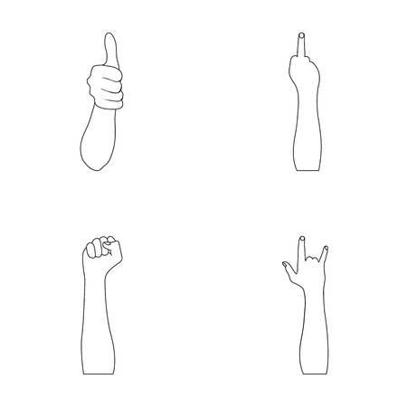 Sign Language outline icons in set collection for design.Emotional part of communication vector symbol stock web illustration. Stock Illustratie