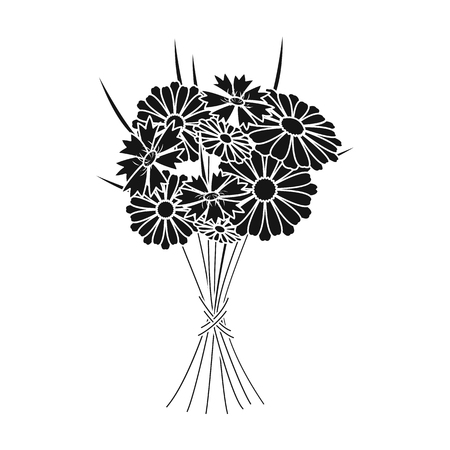 A bouquet of fresh flowers single icon in black style for design. Bouquet vector symbol stock illustration web.