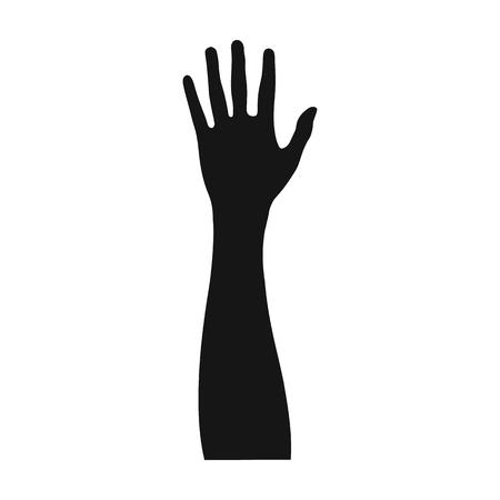 Solo icono del gesto en estilo negro. Web del ejemplo de la acción del símbolo del vector de la mano. Foto de archivo