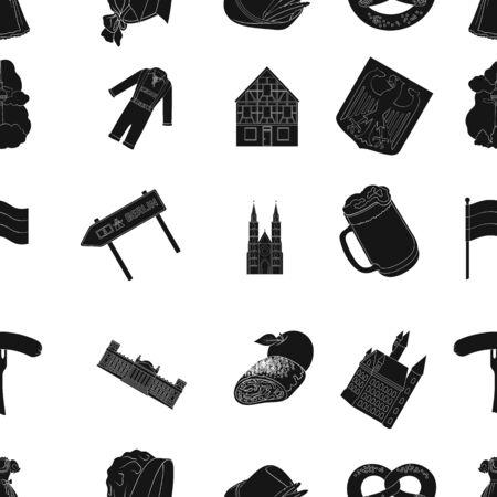 Germania, paese, architettura e altre icone web in stile nero. Attributi, turismo, icone dell'Oktoberfest nella raccolta di set. Archivio Fotografico - 90834555