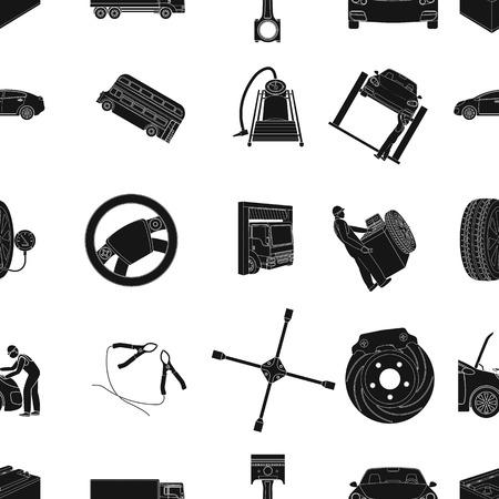 Icônes noires de voiture, ascenseur, pompe et autres équipements dans la collection de jeu pour la conception. Voiture maintenance station vecteur symbole stock illustration web.