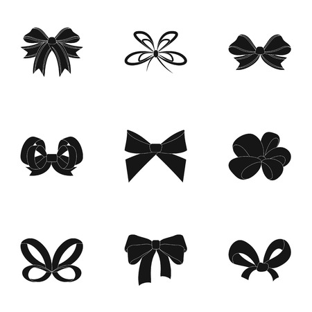 Bow, ribbon, decoration, and other  icon in black style.Giftbows, node, ornamentals, icons in set collection. Vettoriali