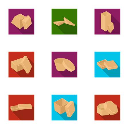 Package, packaging, container, and other  icon in flat style.Framework, boxing, wrapping, icons in set collection. Illustration