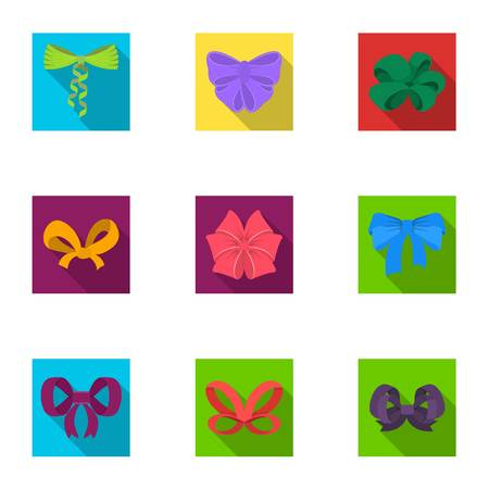 Bow, ribbon, decoration, and other  icon in flat style.Giftbows, node, ornamentals, icons in set collection. Vettoriali