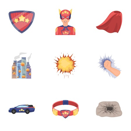 Shield, protection, superhero, and other icon in cartoon style.Opportunities, assistance, rescue icons in set collection. Illustration