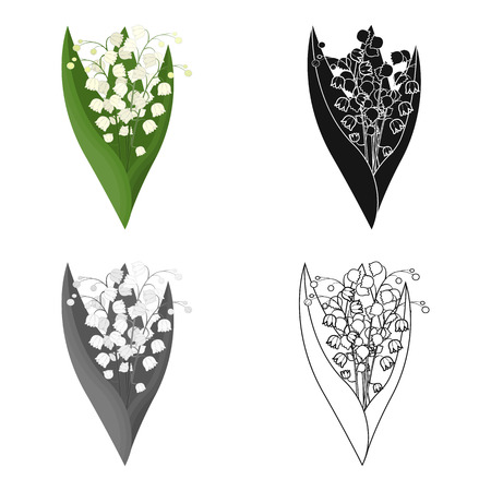 Een boeket van verse bloemen één pictogram in zwart-wit beeldverhaal, zwart-wit, overzichtsstijl voor ontwerp. Boeket vector symbool stock illustratie.