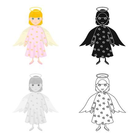 수호 천사 만화, 검정, 플랫, 단색 스타일 디자인에 단일 아이콘. 크리스마스 벡터 기호 재고 일러스트입니다.