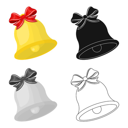 Christmas Bell single icon in cartoon,black,flat,monochrome style for design. Christmas vector symbol stock illustration web.