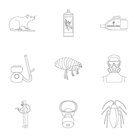 Pest, poison, personnel and various equipment outline icons in set collection for design. Pest control service vector symbol stock web illustration.