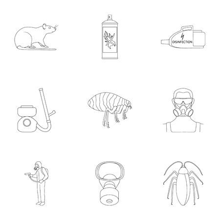 Pest, veleno, personale e varie attrezzature delineano le icone nella raccolta dell'insieme per progettazione. Illustrazione di web di riserva di simbolo di vettore di servizio di controllo dei parassiti. Archivio Fotografico - 90834573