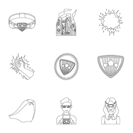 Shield, protection, superman, and other web icon in outline style.Opportunities, assistance, rescue icons in set collection.