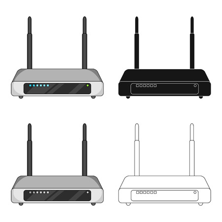Router, één pictogram in cartoon stijl. Router vector symbool stock illustratie web. Stockfoto - 90834579