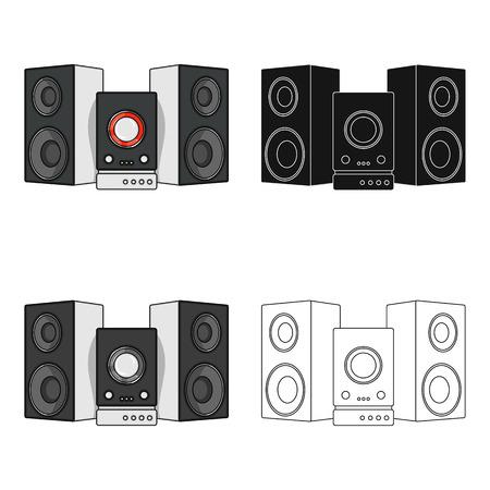 Icona musicale, centrale, singola nello stile del fumetto Web musicale, centro, illustrazione di riserva di simbolo di vettore.