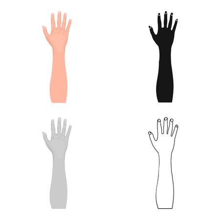 Solo icono del gesto en estilo de la historieta. Web del ejemplo de la acción del símbolo del vector de la idea.