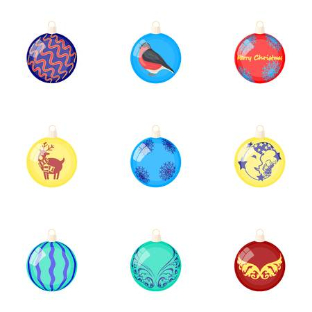 Toys for a Christmas tree cartoon icons in set collection for design.New Year ballsvector symbol stock web illustration.