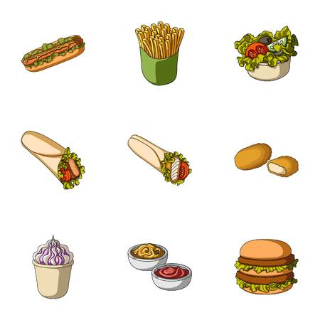 Refreshments, snacks, fast, and other web icon in cartoon style.Hot, dog, bun, icons in set collection.