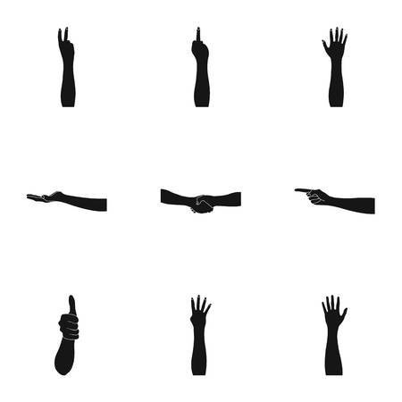 Significance of gestures black icons in set collection for design.The tongue of deaf mutes vector symbol stock web illustration. Illustration