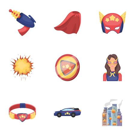 Super hero explosion, fire, and other icon in cartoon style.Pistol, weapons, innovations icons in set collection
