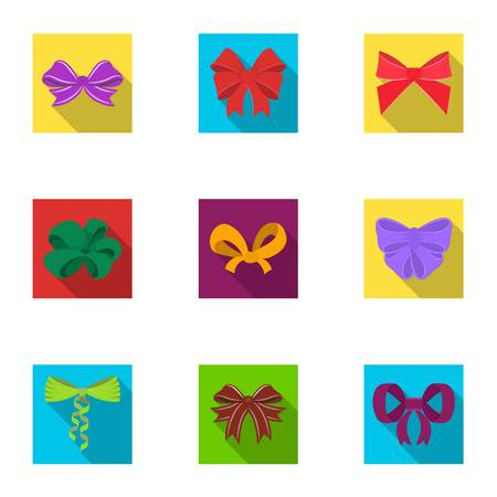 Decor, bows, node, and other  icon in flat style.Bow, ribbon, decoration, icons in set collection. Vettoriali