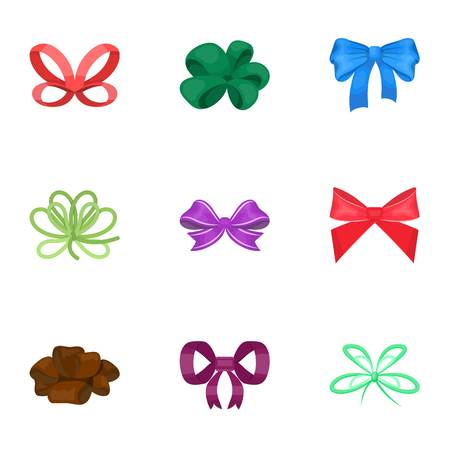 Decor, bows, node, and other  icon in cartoon style.Bow, ribbon, decoration icons in set collection Vettoriali