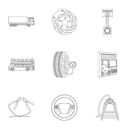 Voitures, ascenseurs, pompes et autres équipements décrivent des icônes dans la collection de jeux pour la conception. Illustration de stock de voiture entretien station vecteur symbole Vecteurs