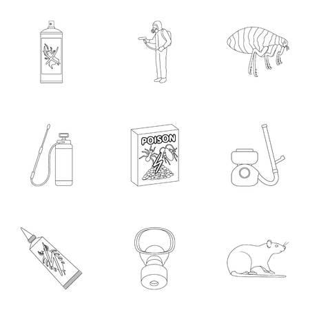 Schädling, Gift, Personal und verschiedene Ausrüstung umreißen Ikonen in der Satzsammlung für Design. Schädlingsbekämpfungsservice-Vektorsymbol-Vorratillustration. Standard-Bild - 91122299