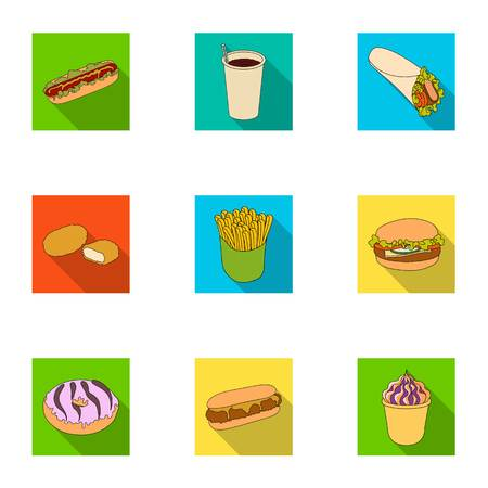 Refreshments, snacks, fast, and other  icon in flat style.Hot, dog, bun icons in set collection Illustration
