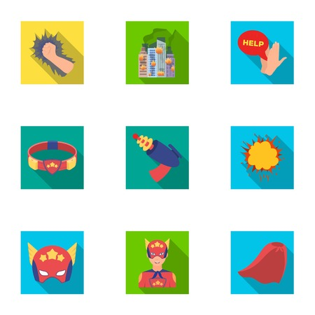 Super hero, explosion, fire, and other web icon in flat style. Pistol, weapons, innovations, icons in set collection.