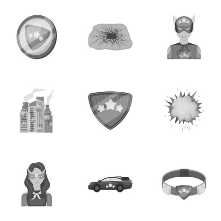 Explosion, fire, and other icon in monochrome style.Pistol, weapons, innovations icons in set collection Illustration