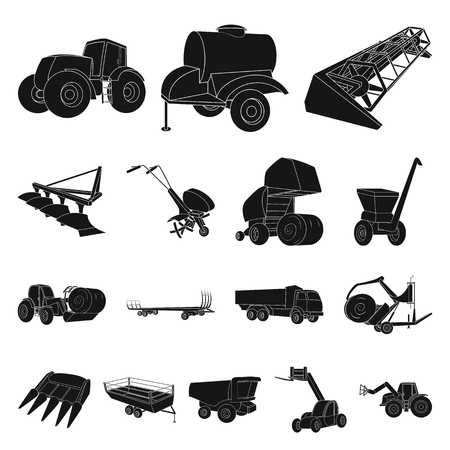 Industrial equipment black icons.