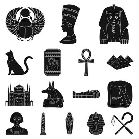 Ancient Egypt black icons.