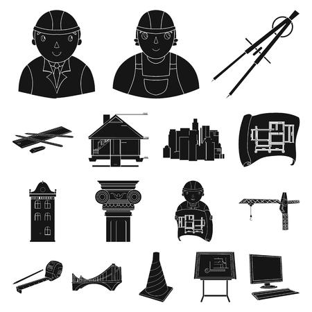 建築と建設黒のアイコン。  イラスト・ベクター素材