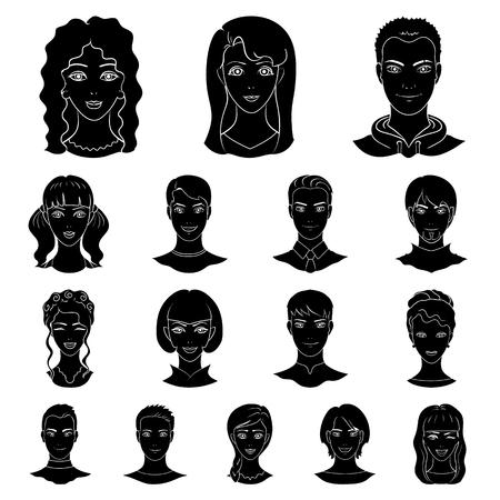 Avatar and face black icons.