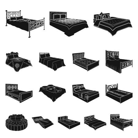 Different beds black icons. Illusztráció