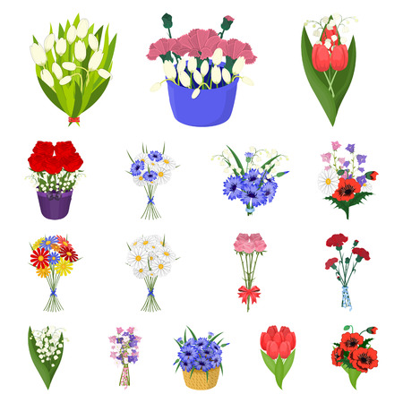 A bouquet of fresh flowers cartoon icons in set collection for design. Various bouquets vector symbol stock illustration.
