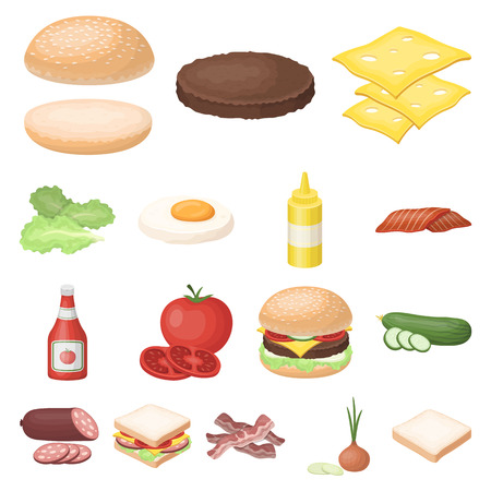 Burger and ingredients cartoon icons in set collection for design. Burger cooking vector symbol stock  illustration. Illustration