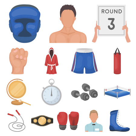 Boxing extreme sports cartoon icons in set collection for design. Boxer and attributes vector symbol stock illustration. Vectores