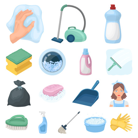 Cleaning and maid cartoon icons.