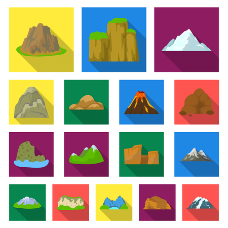 Different mountains flat icons in set collection for design.Mountains and landscape vector symbol stock  illustration.