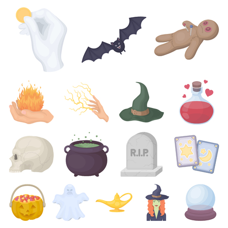 Dibujos animados e iconos de dibujos animados de magia blanca en conjunto colección para el diseño. Los atributos y los accesorios de la bruja vector el ejemplo común del símbolo.