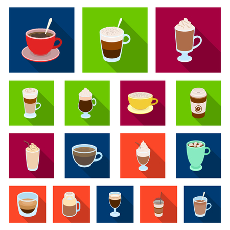 Different kinds of coffee flat icons. Иллюстрация