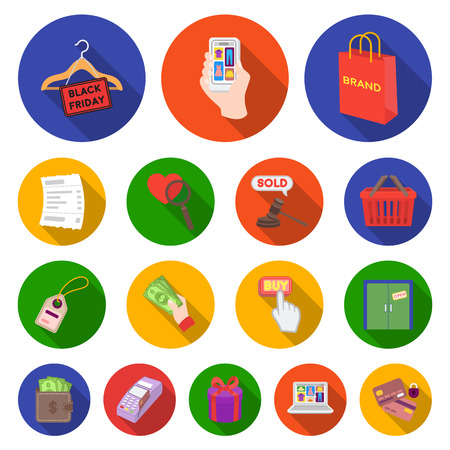 E-commerce, Purchase and sale flat icons.