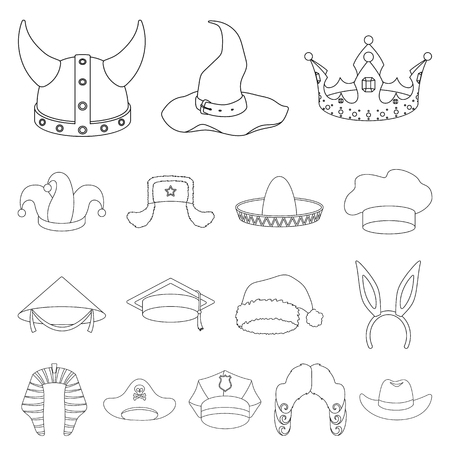 Different kinds of hats outline icons in set collection for design.Headdress vector symbol stock  illustration. Illustration