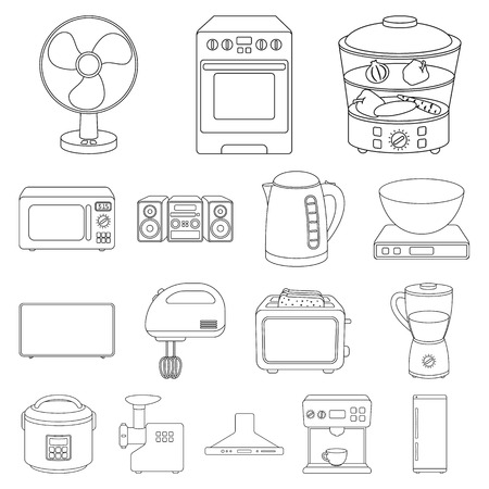 Types of household appliances outline icon. Vectores