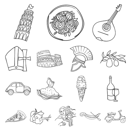 Country Italy Outline Icons In Set Collection For Design Italy